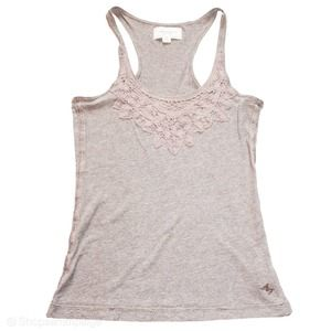 Abercrombie & Fitch Lace Detail Tank Top Tan S